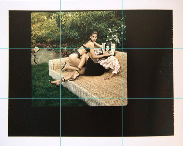 U.S. Vogue, St. Tropez, 1991.  Helmut Newton Polaroids  Taschen 2017  #usvogue #vogue #polaroid #helmutnewton #ruleofthirds #film