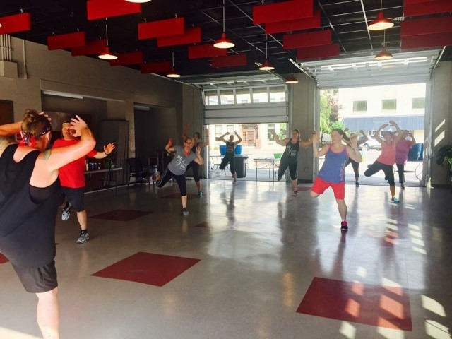 Residents of Big Stone Gap get their heart rate up while participating in a Saturday morning Zumba class.
