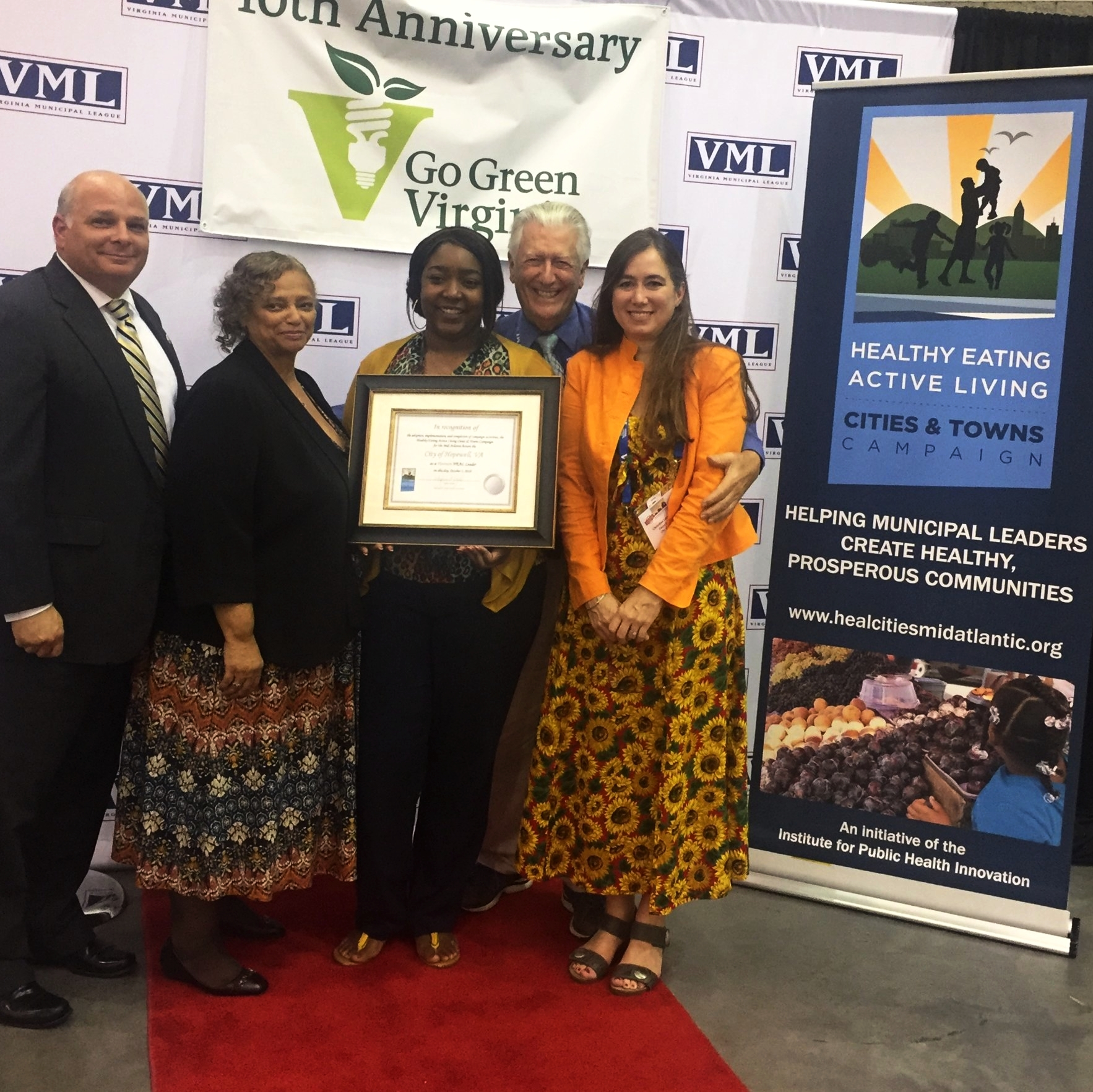 Featured above: The City of Hopewell receiving Platinum recognition at the 2018 Virginia Municipal League Conference in Hampton, Virginia.