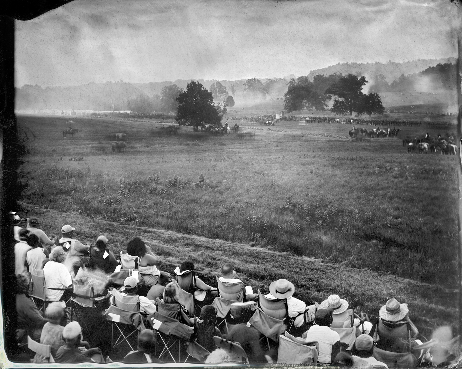 Spectators with Battle in Distance, Gettysburg, 2012