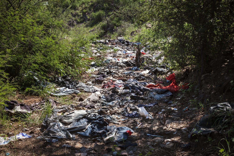 Debris Field Left By Migrants on U.S. Side of the Border, 2012