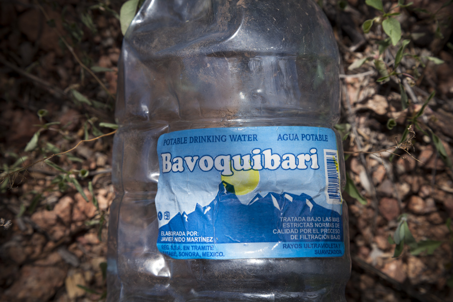 Bavoquibari Bottle, 2012 - Water bottle depicting Bavoquibari Mountains, which migrants use to navigate.