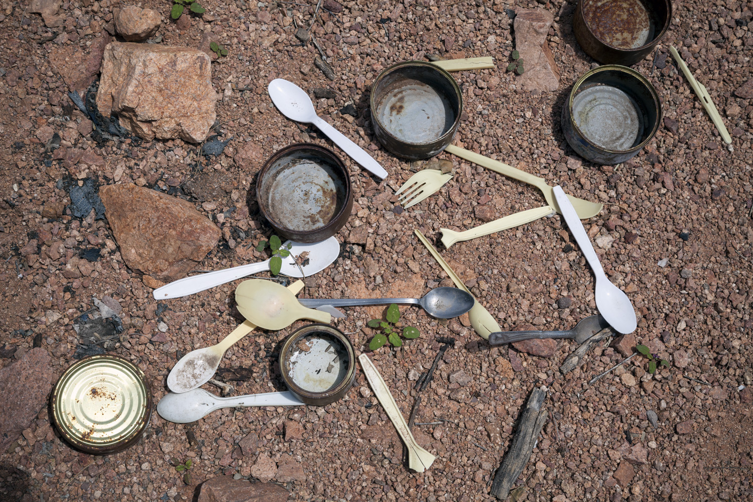 Empty Cans and Utensils Left By Migrants, 2012