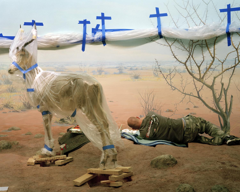 Richard Barnes, Single Ungulate and Man Amidst Crosses, 2008