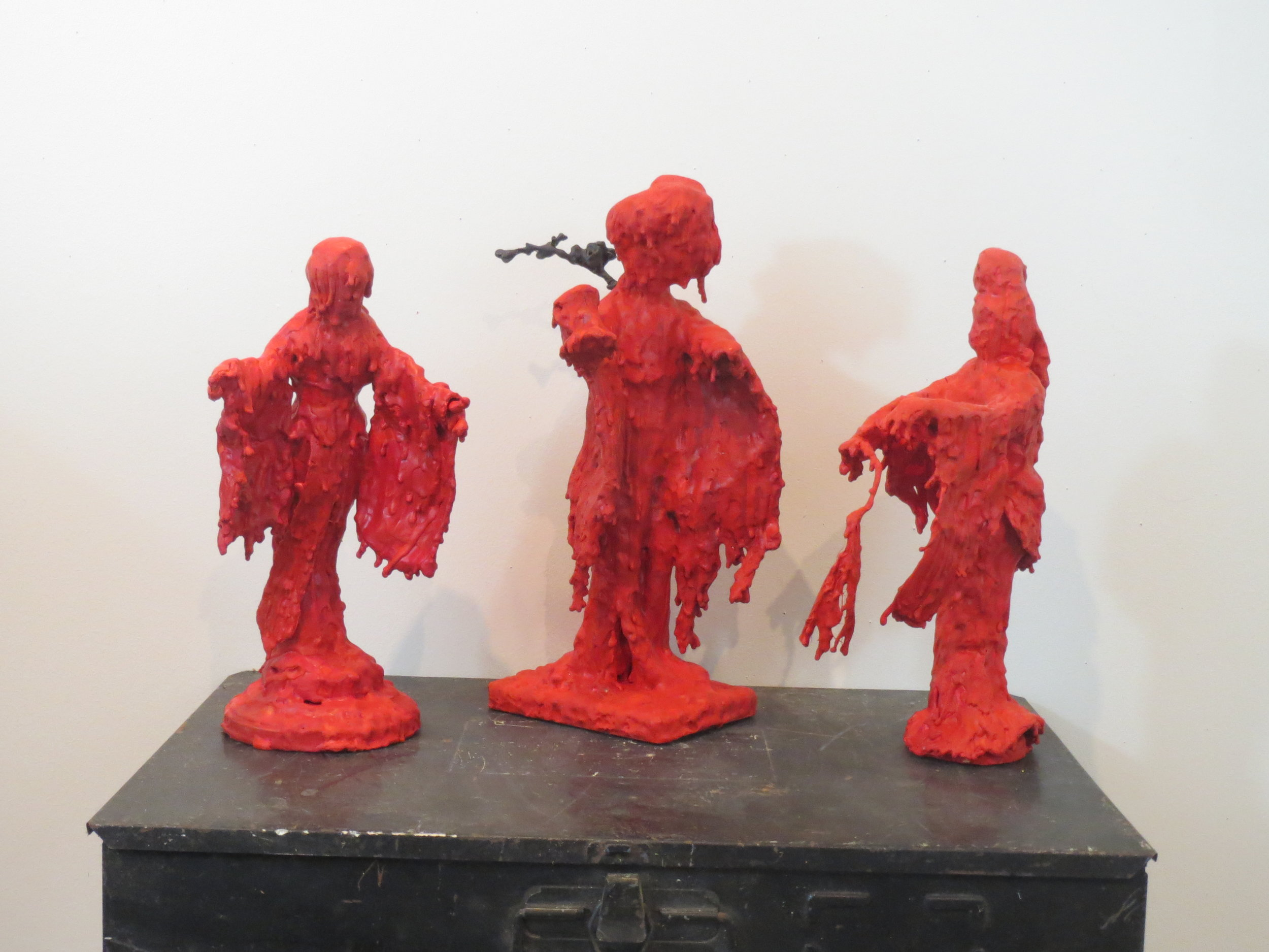 Hibakusha Trio, Encaustic Scuptures by Sher Fick
