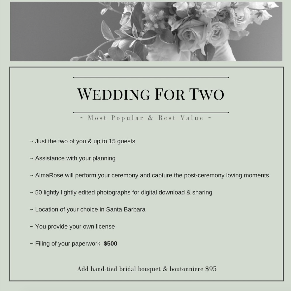 OUR MOST POPULAR ELOPEMENT WEDDNG PACKAGE