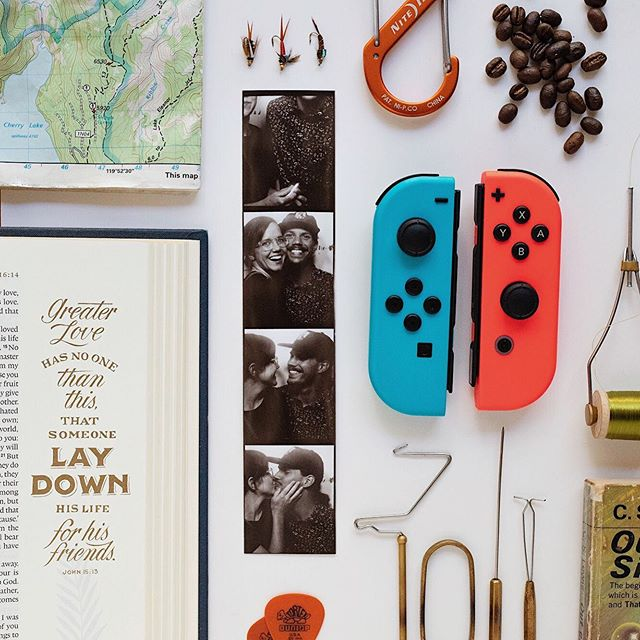 Happy Birthday @philipgodley 🎉  May your day and your year be filled with the many, many things that bring you joy. I'm so thankful you choose to share your wild and wonderful with me.  Shout out to @fieldguidedesigns for inspiring this eclectic-husband-themed flatlay. 🙌