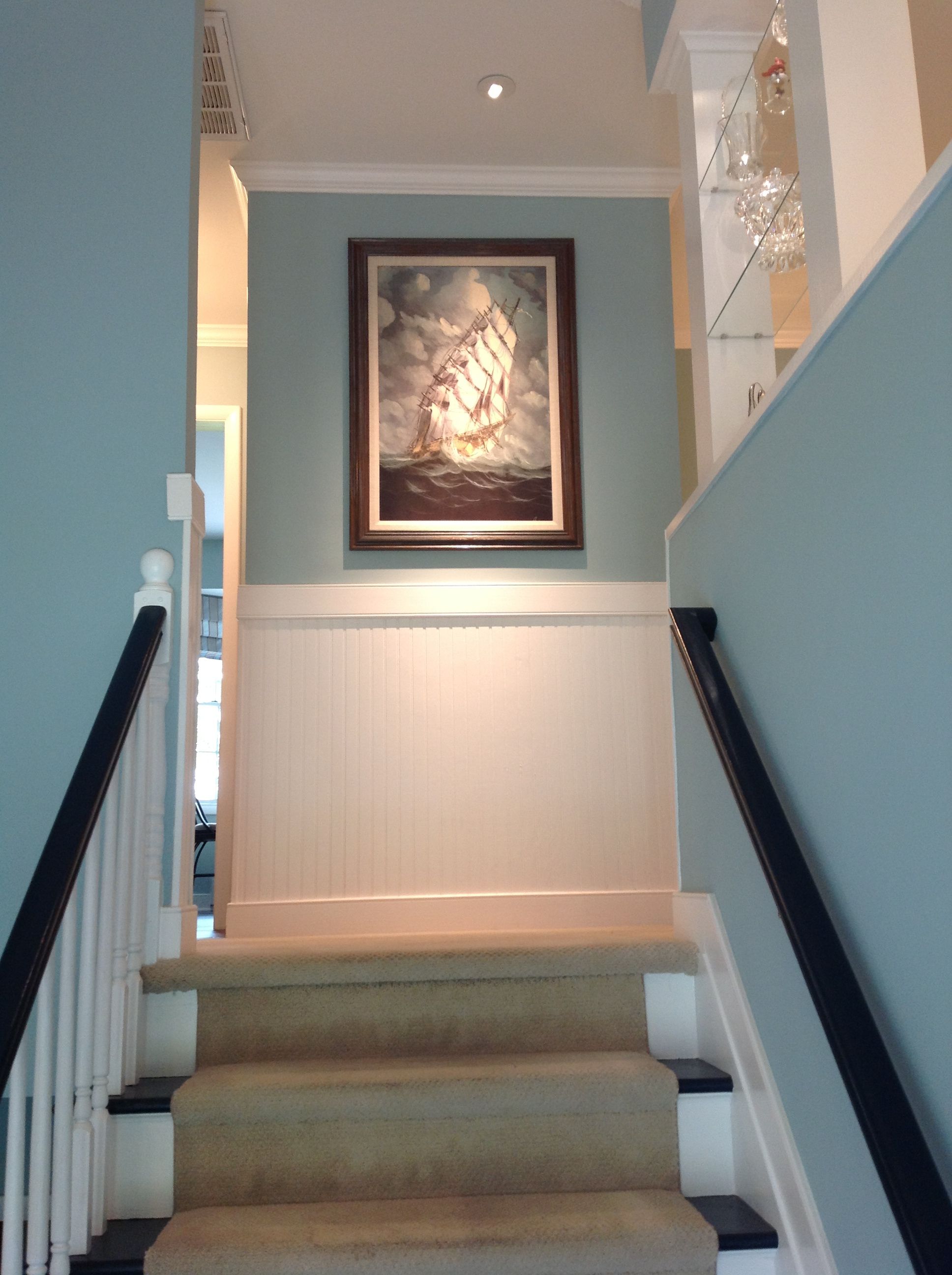 Custom lighting for second floor renovation.  Palindrome Design interior design