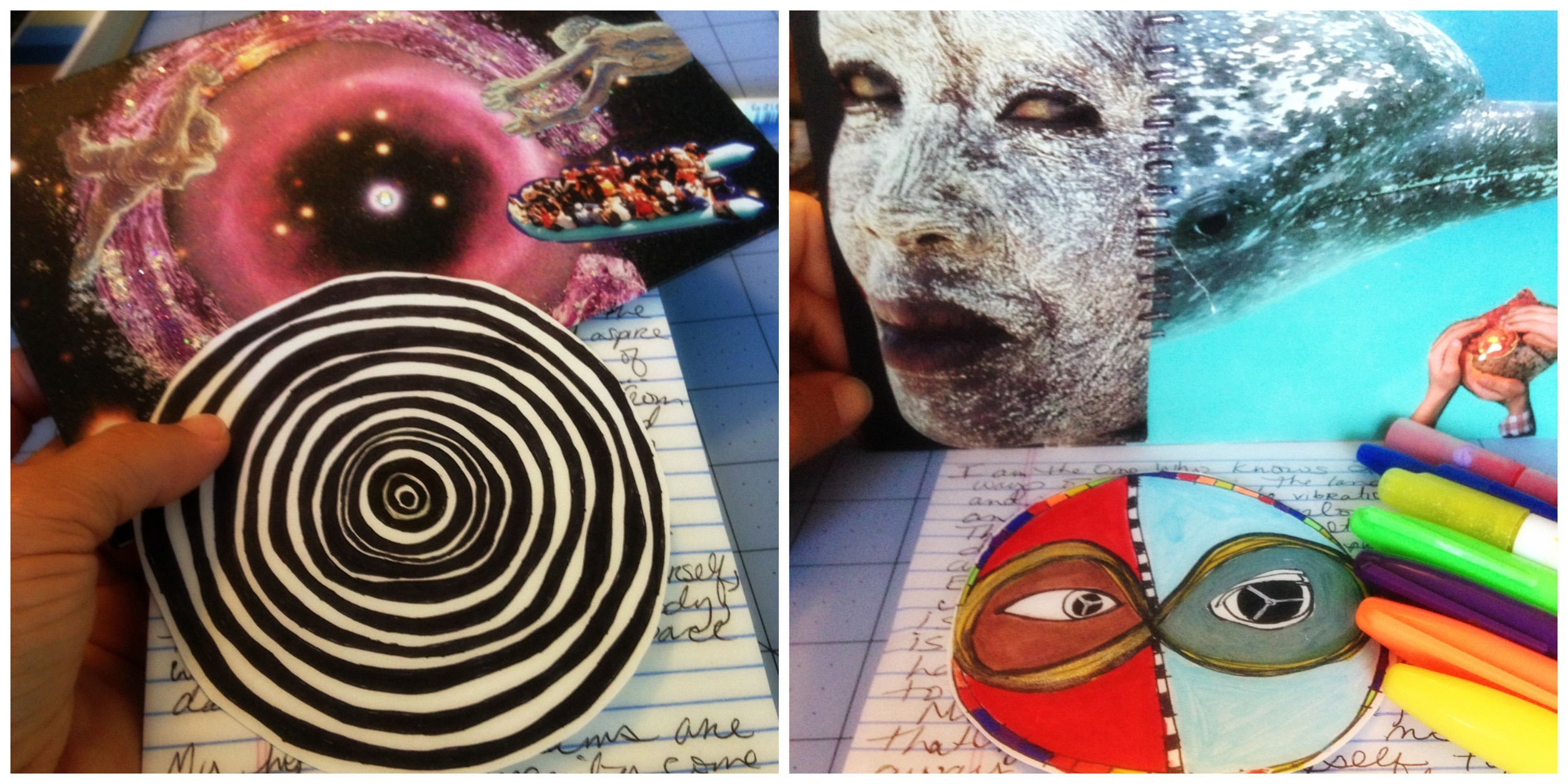 2 samples of my SoulCollage® cards and the mandalas  they drew!