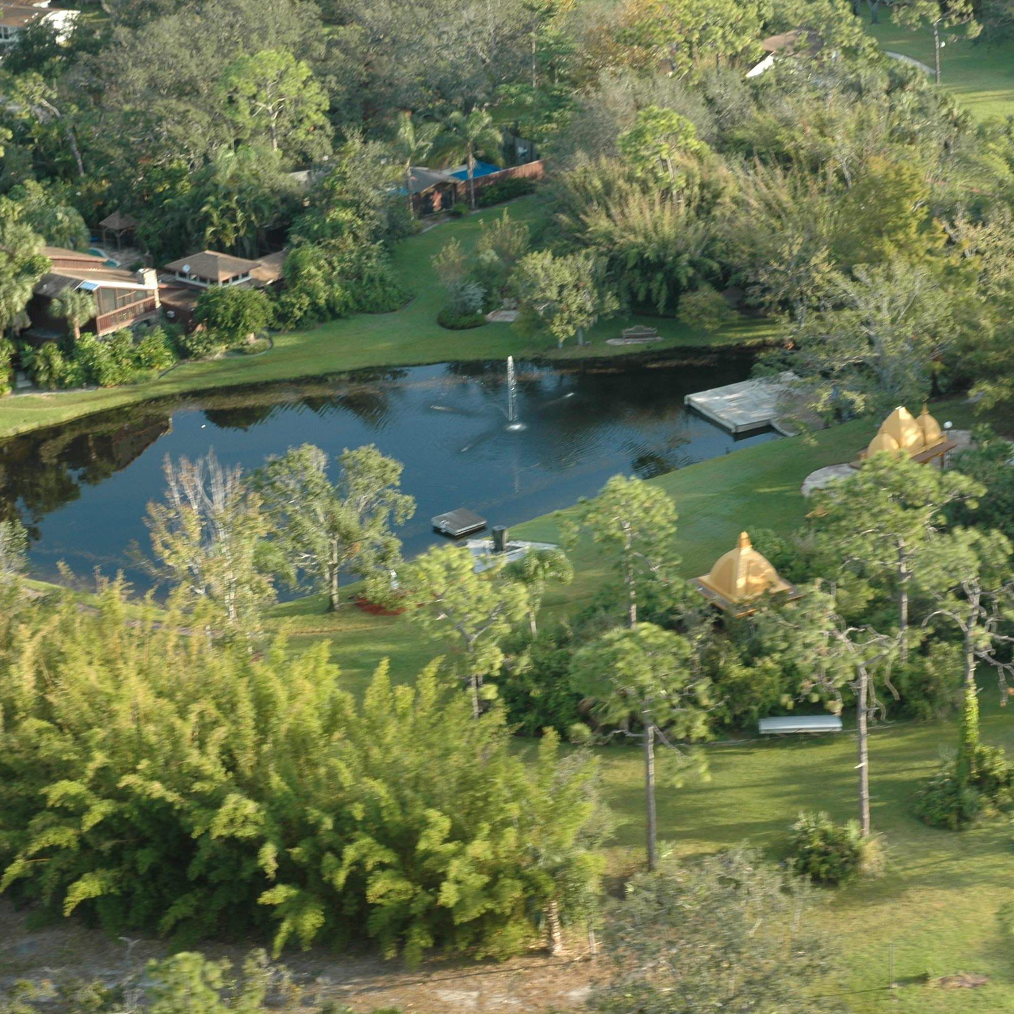 Aerial view of the Kashi Ashram grounds.