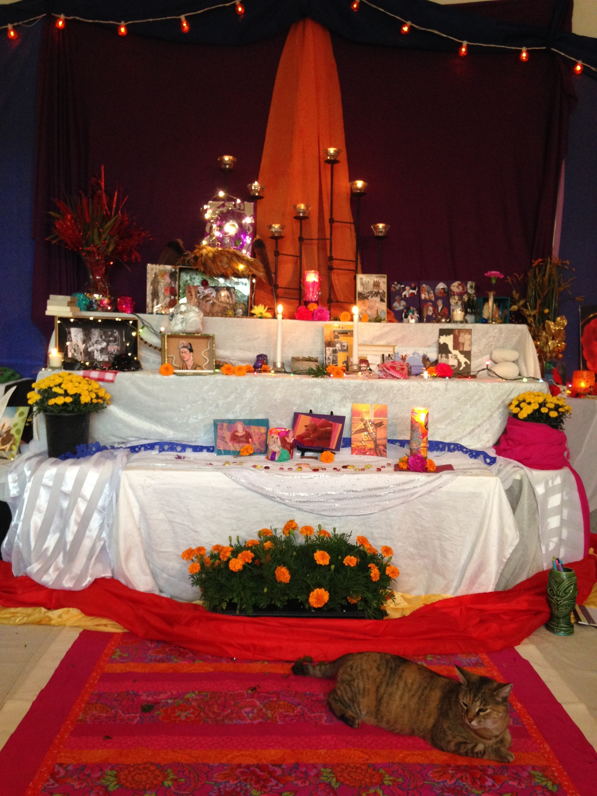 Altar - Magical Day of the Dead ceremonial altar with candles, soulcollage® cards shrines and Razzberry cat!