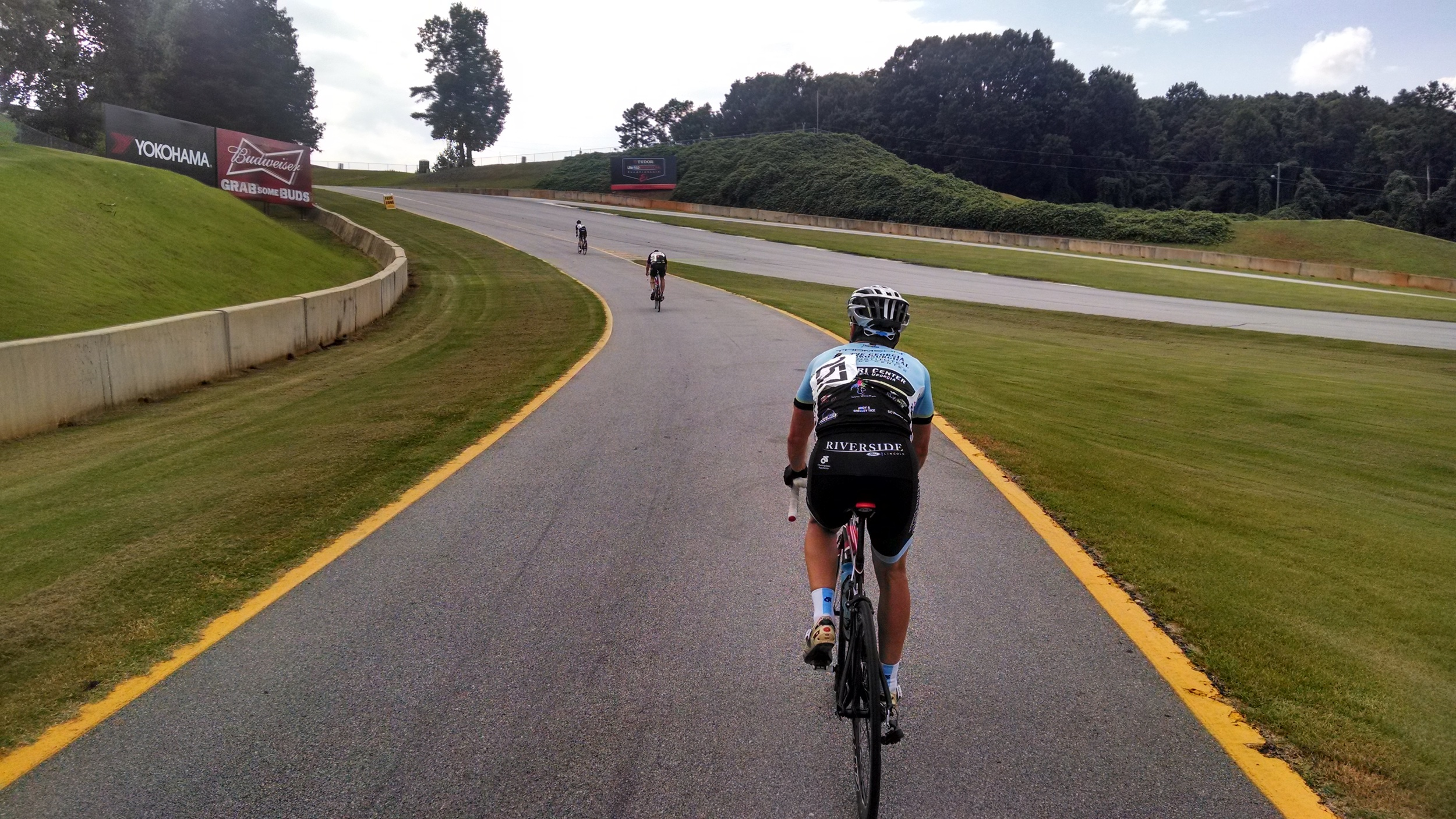Just after the start/finish line is the pit lane hill.