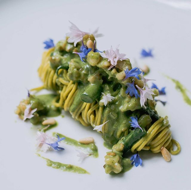 Tagliolini Pesto e Gamberi.  Homemade Tagliolini,Shrimp, Basil Pesto, green beans and Pine Nuts.