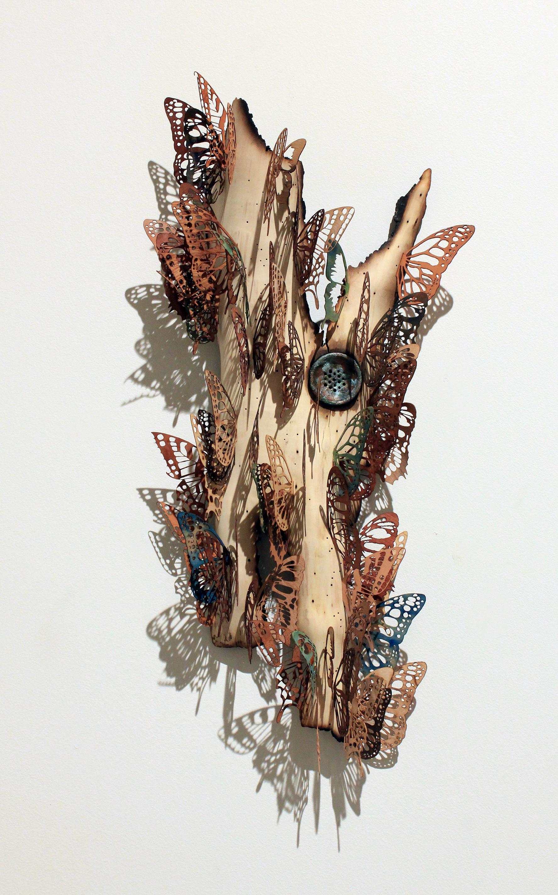 "Drainage, 2014. 22"" x 10"" x 4"". wood veneer, maple."