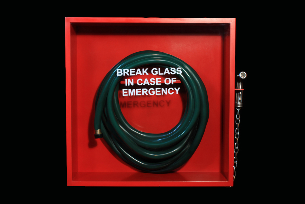 "Break Glass in case of Emergency, 2015. 25"" x 27"" x 6"". Carved Basswood, Poplar, Walnut, glass, vinyl. Available, contact for price."