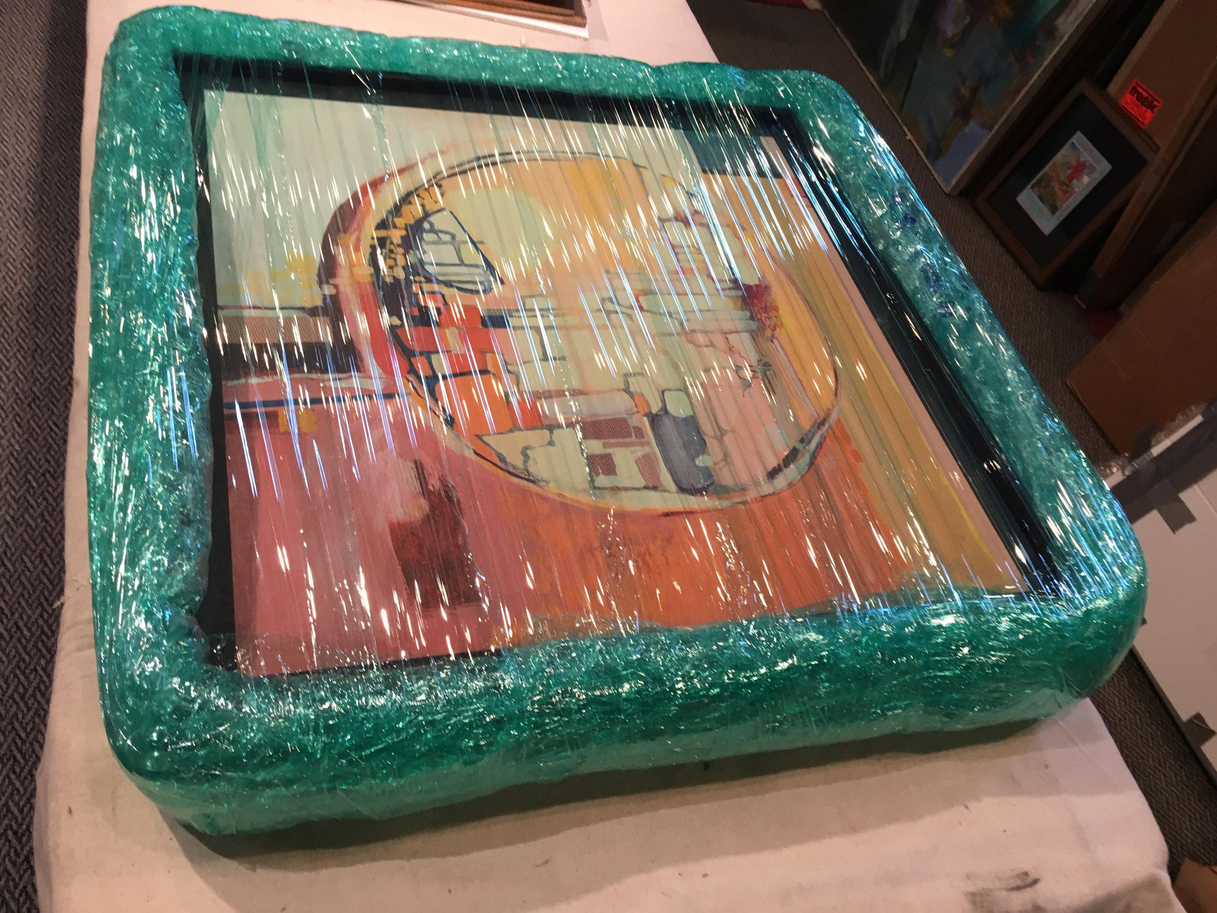 Custom packed artwork ensures shock damage while in transit.