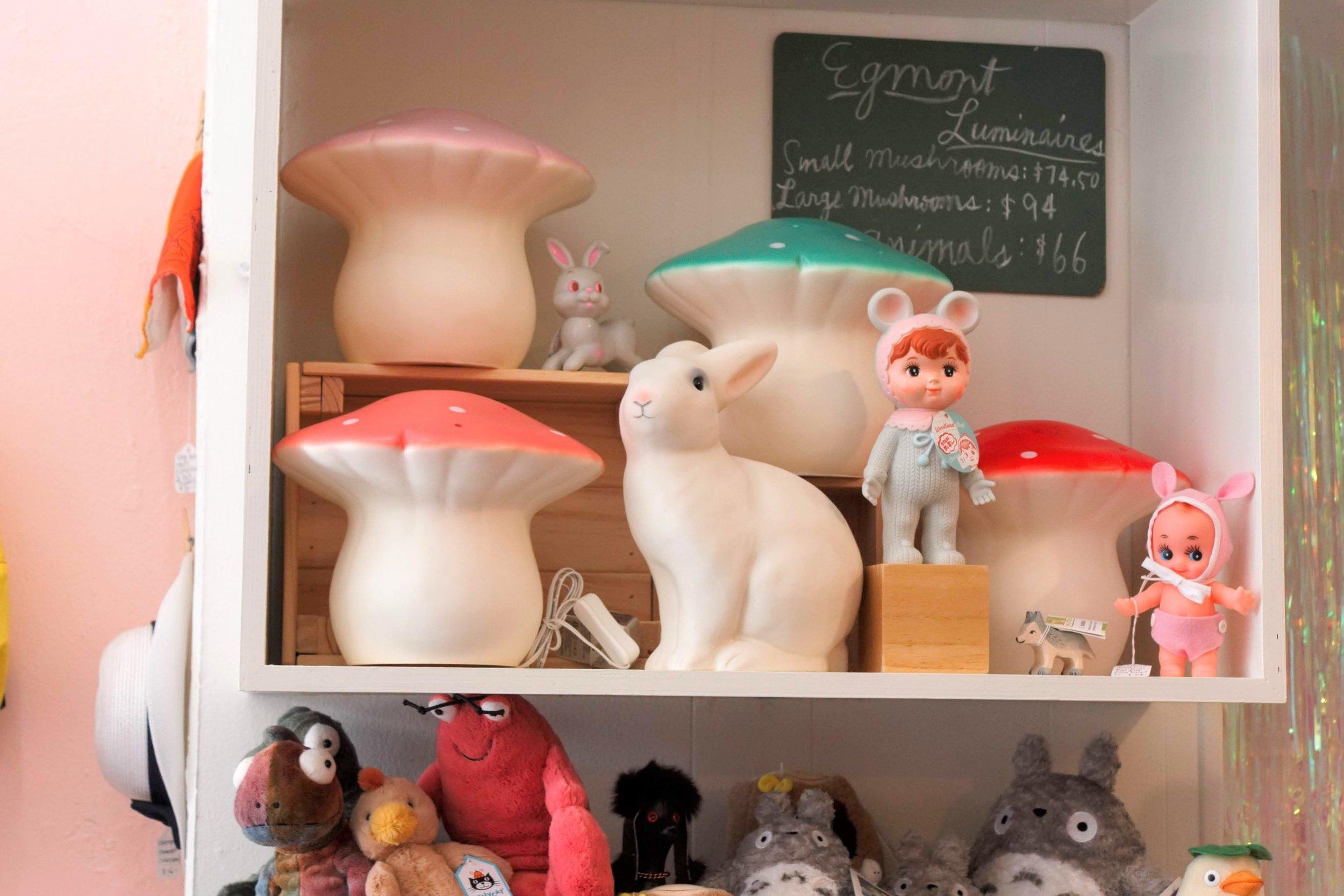 Mushroom lamps, Lapin & Me dolls, Jelly Cat stuffed animals, and Totoros!