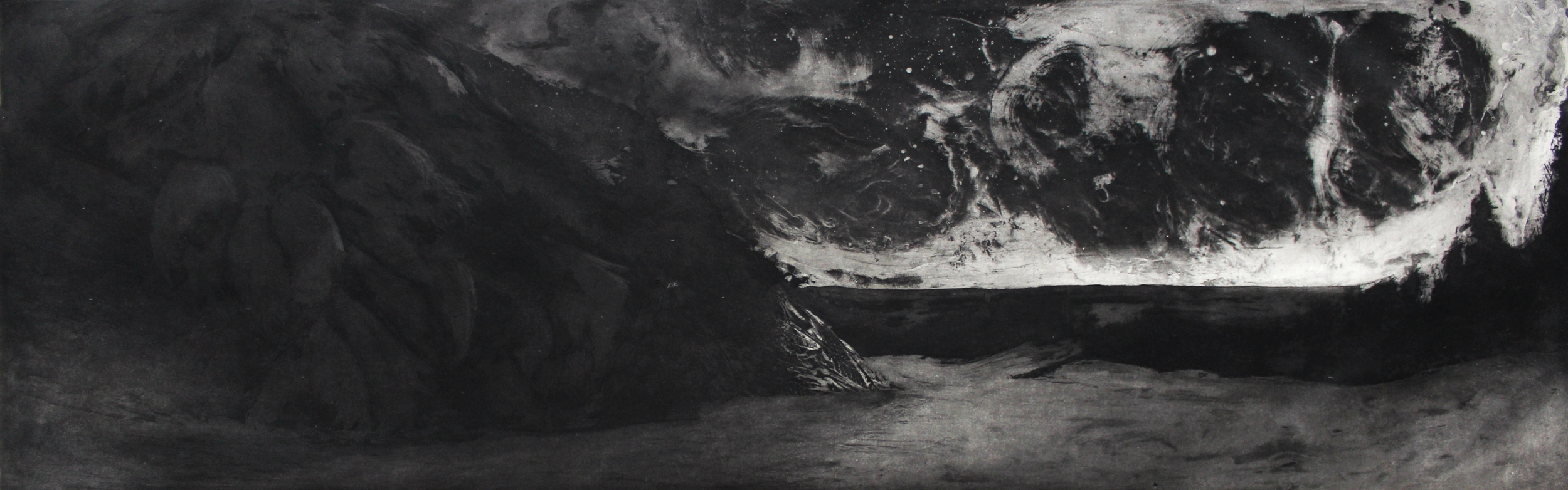 """West Dover, VT State 2, 2014 etching 