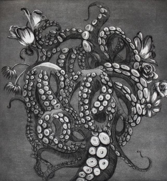 "Octopus' Garden etching 12""x15"" | 250"