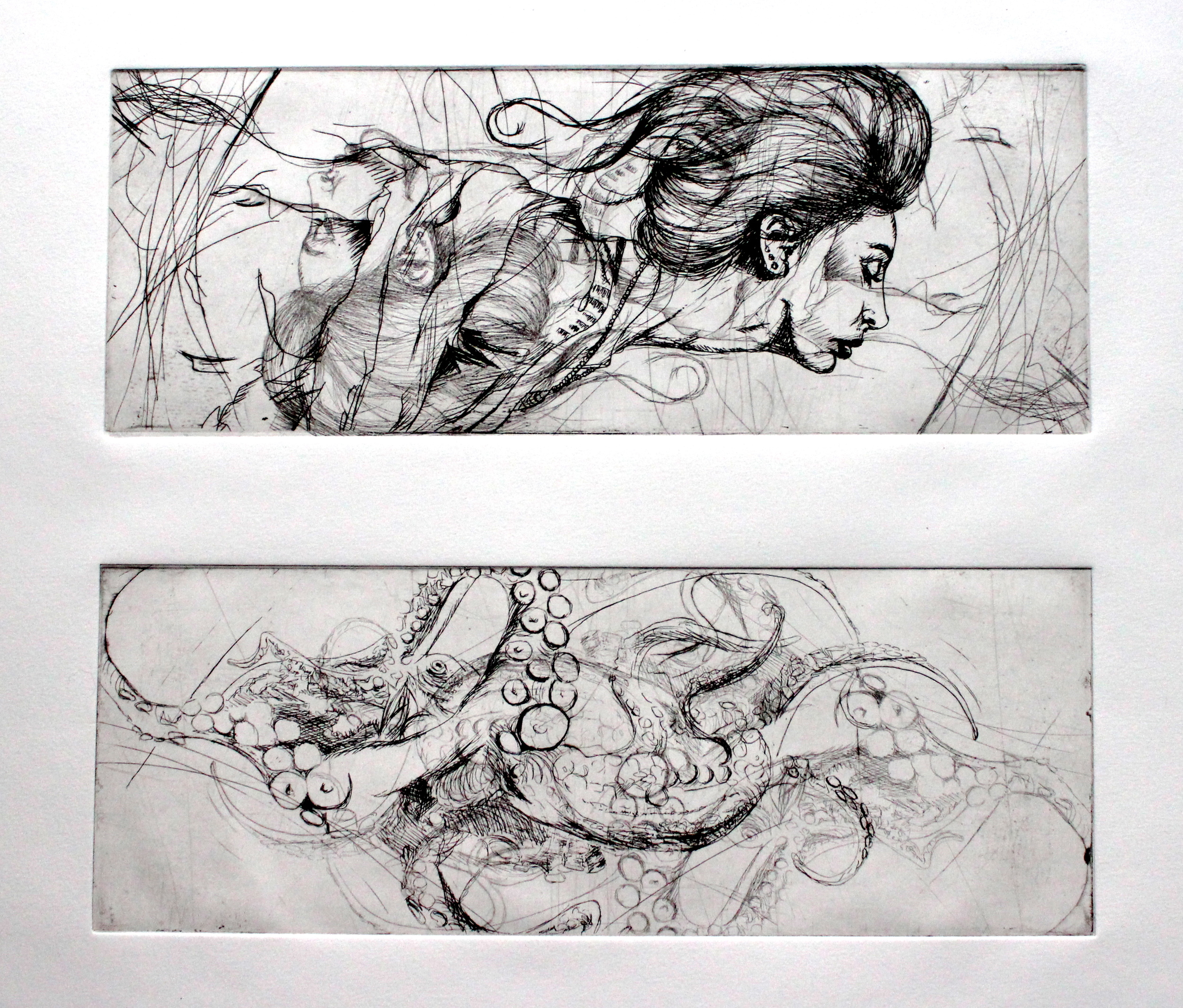 """In Motion diptych, 2012 etching 12""""x12"""""""
