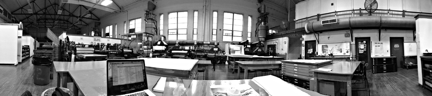 The MassArt Printmaking Studio is in the old basketball gymnasium. It is an incredible space to create and work in.   Boston, MA