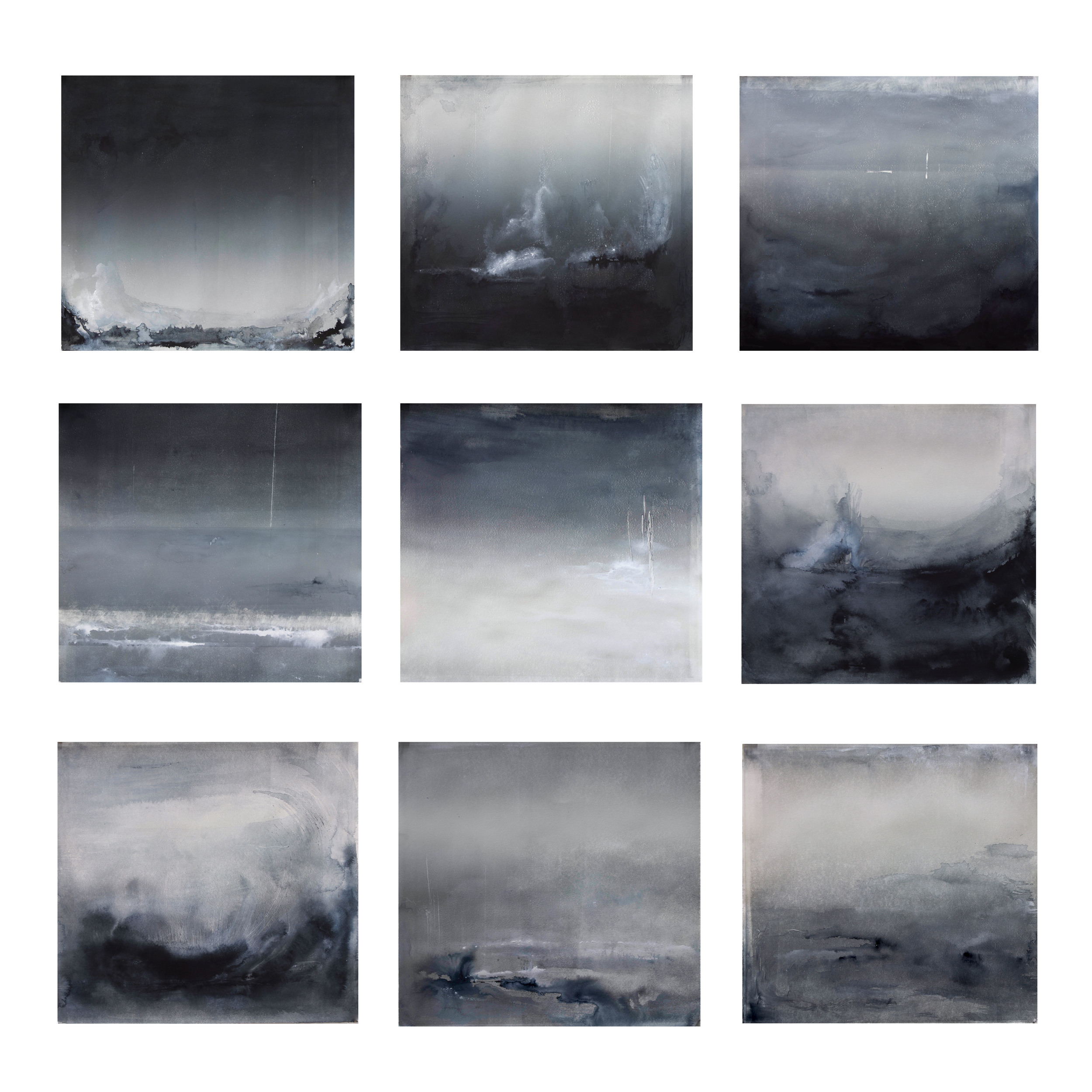 """Evanesce Portfolio on changing landscape Monotype and ink on paper, 2014 14.5""""x15.5"""" each"""