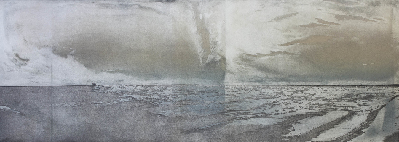 "Pilgrim Beach, North Truro, MA Variation, 2013 etching |  1000  9""x26"""