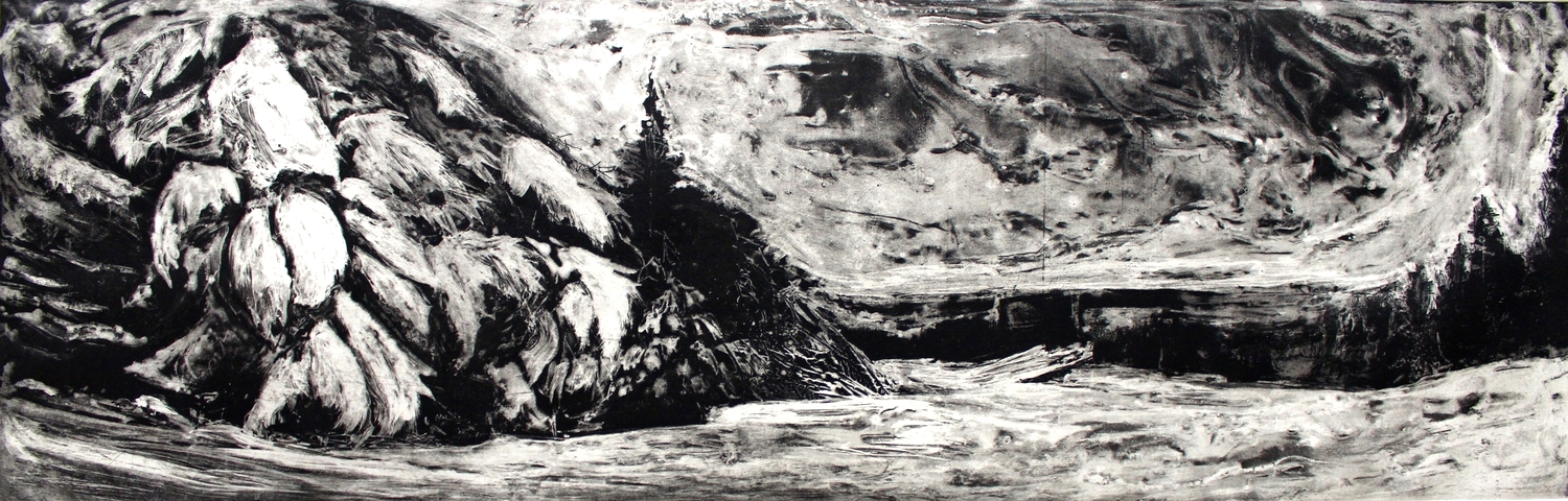 """West Dover, VT State 1, 2014 etching 
