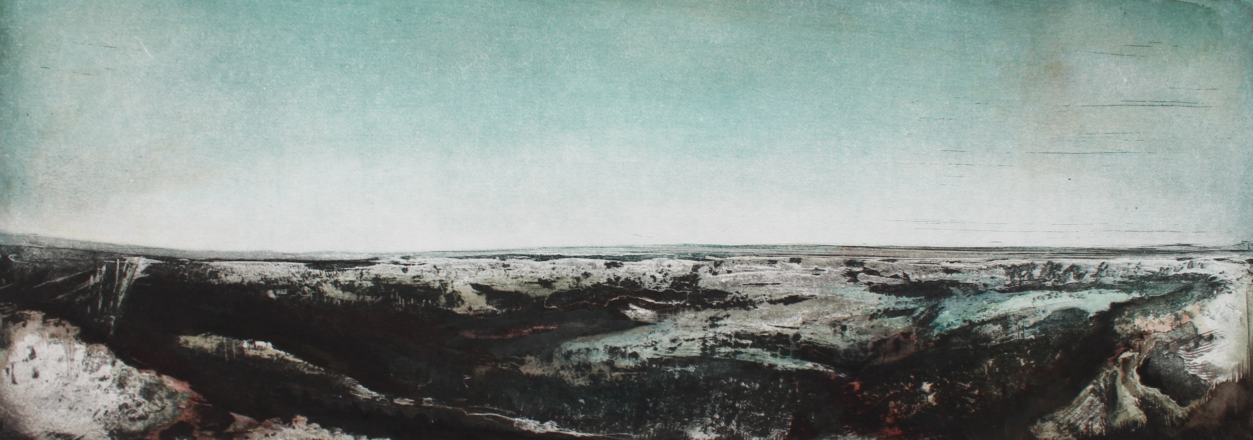 """Ocean Cliff etching with hand coloring