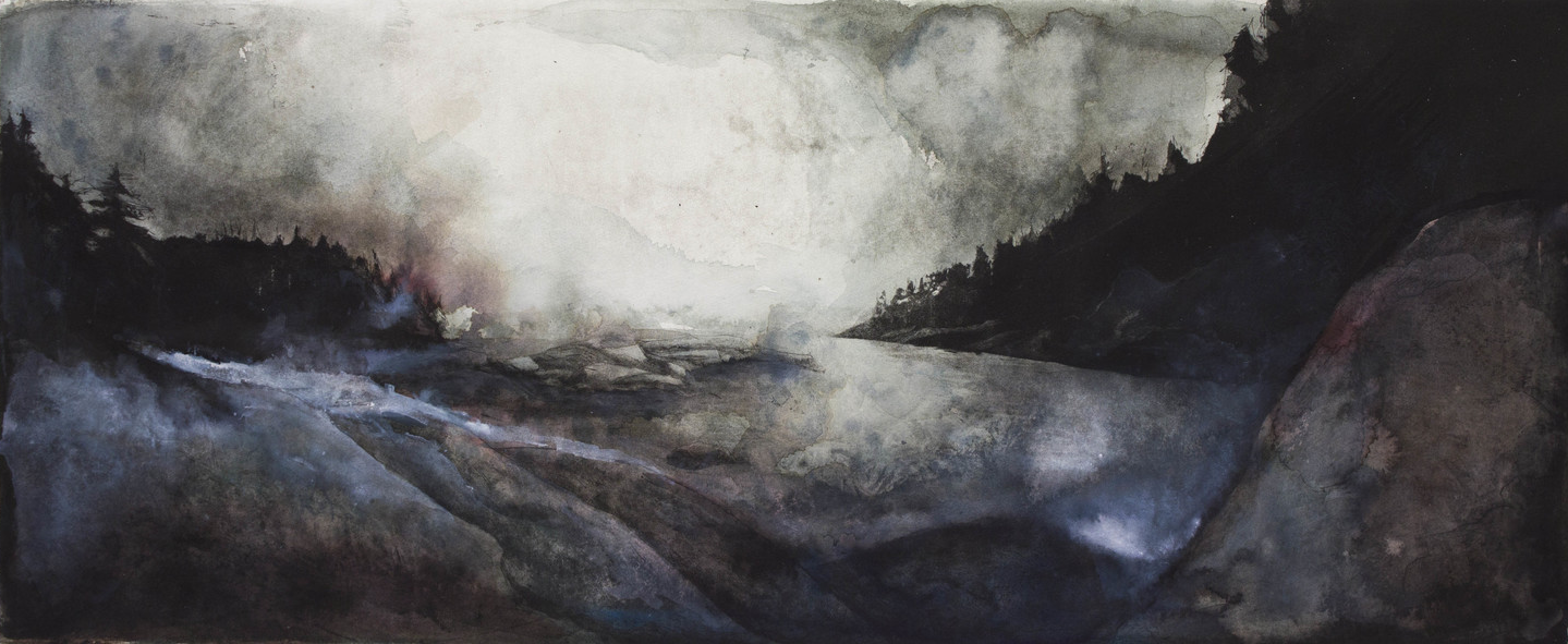 """Clay Pit- Deer Isle, ME, 2014 Etching with hand coloring 