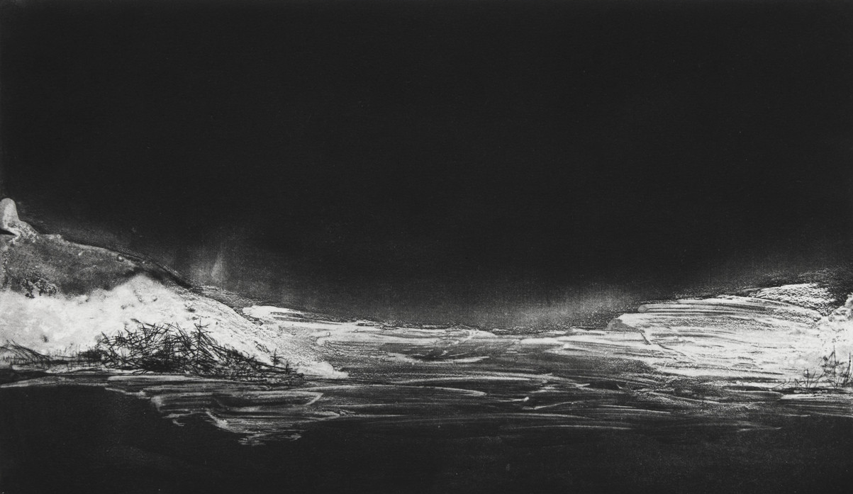 """Winterscape I, 2014 etching 