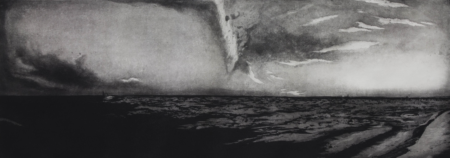 "Pilgrim Beach, North Truro, MA, 2013 etching | 9 50  9""x26"""