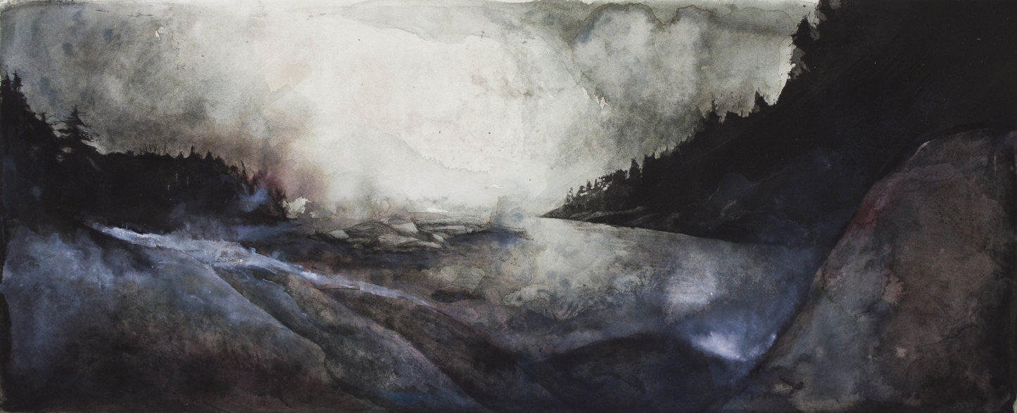 """Clay Pit, Deer Isle, ME 14""""x34"""" Etching and mixed media drawing 
