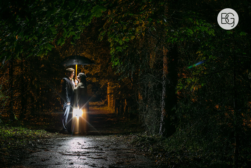 night photography wedding outdoor dark umbrella