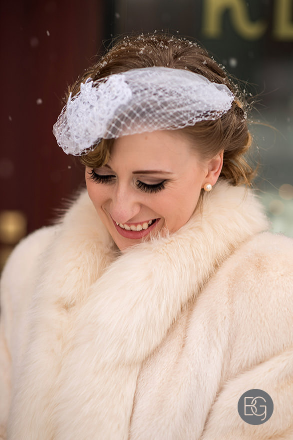 portrait of bride winter snowflakes fur retro 1930's fort edmonton park