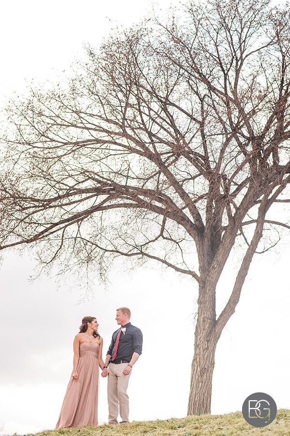 spring wedding in edmonton at Valley zoo pink wedding dress
