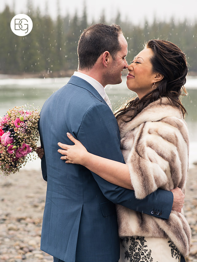 jasper park lodge wedding rain
