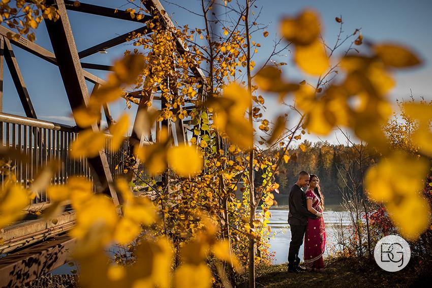 Indian sari engagement photo edmonton autumn
