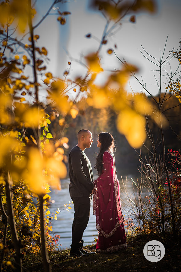 engagement photos east asian wedding autumn leaves edmonton wedding photographer