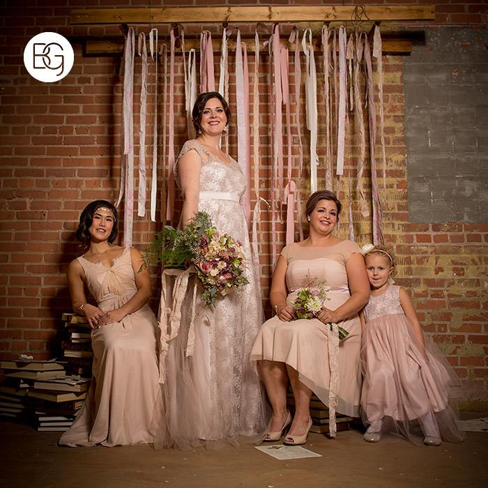 bridesmaid formal portrait brick cute flowergirl pink streamers