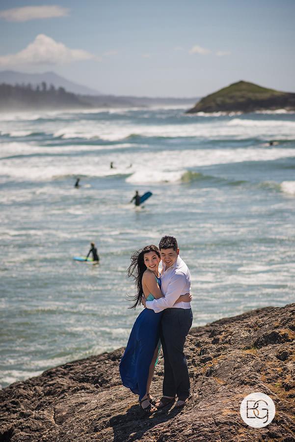 tofino long beach engagement photo surfers summer