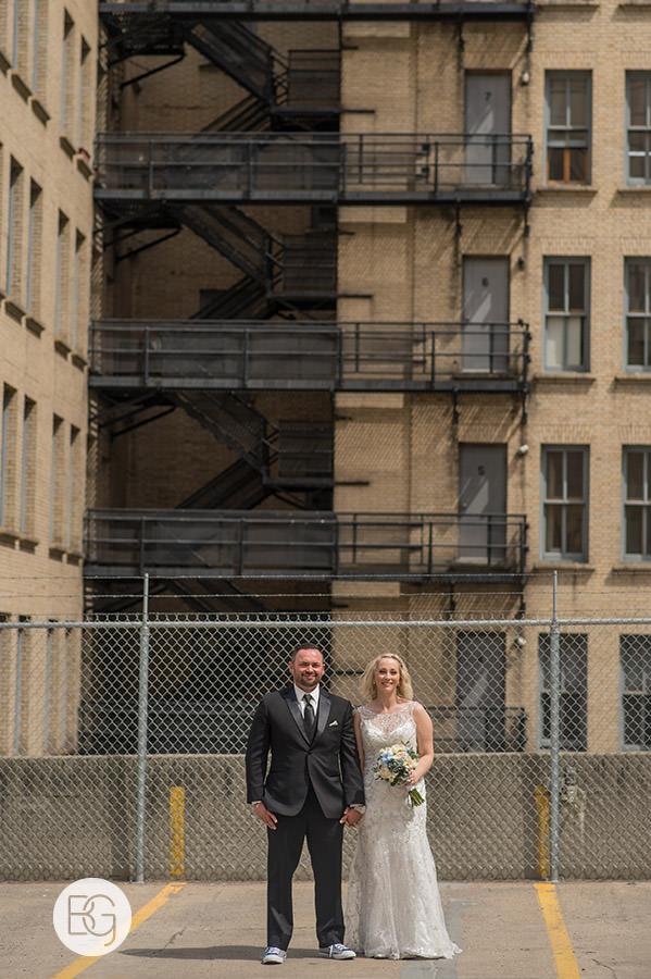 wedding photo at parkade downtown edmonton