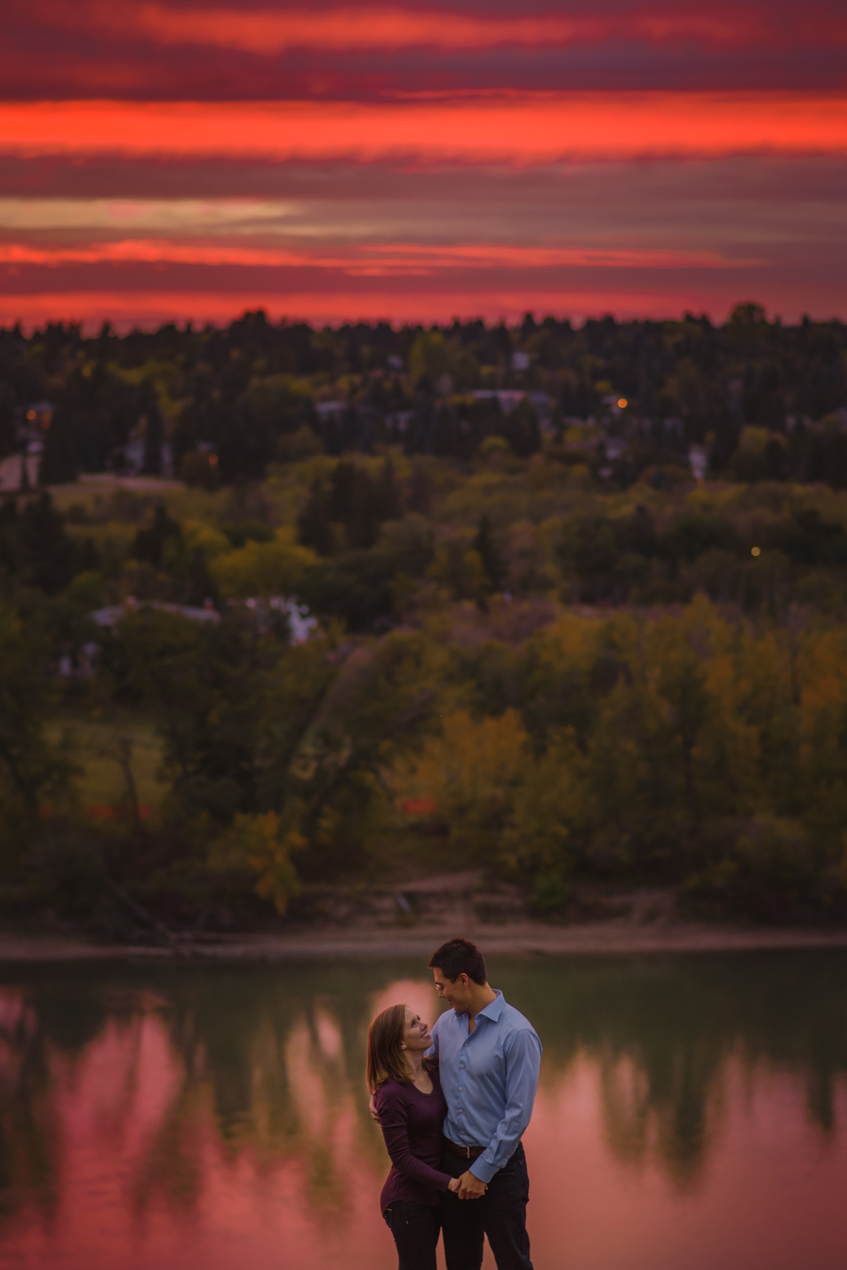 Edmonton engagement photo sunset pink