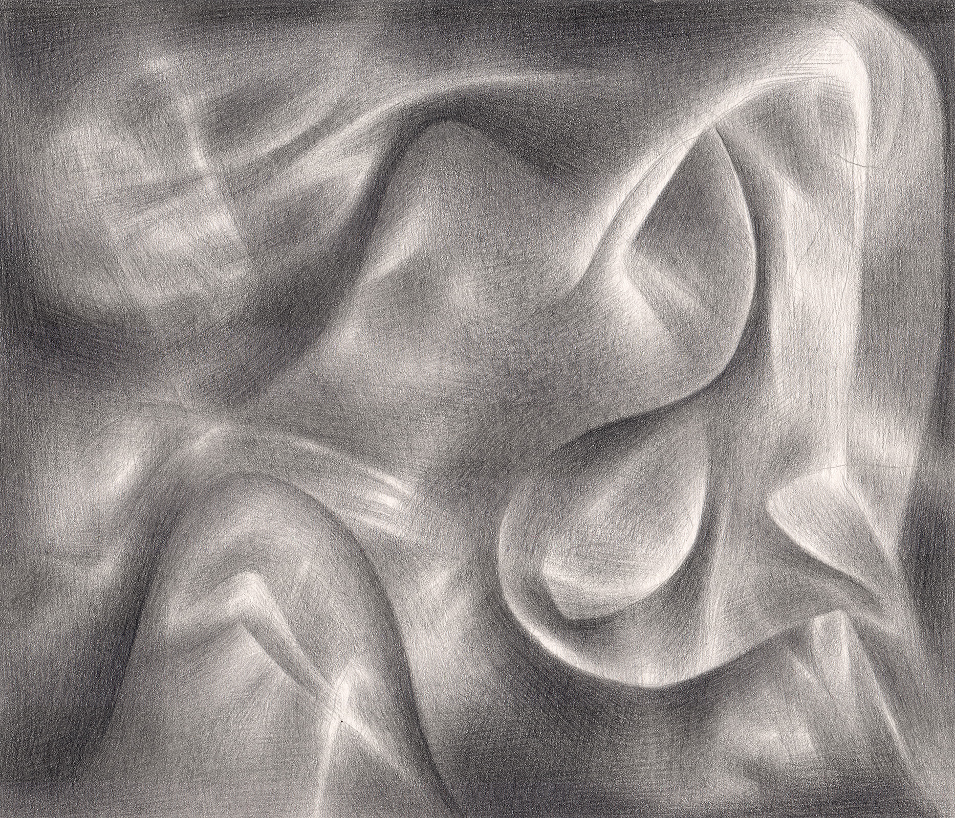 "Friends Made of Smoke & Light , 2007. Graphite on paper. 7"" x 6""."