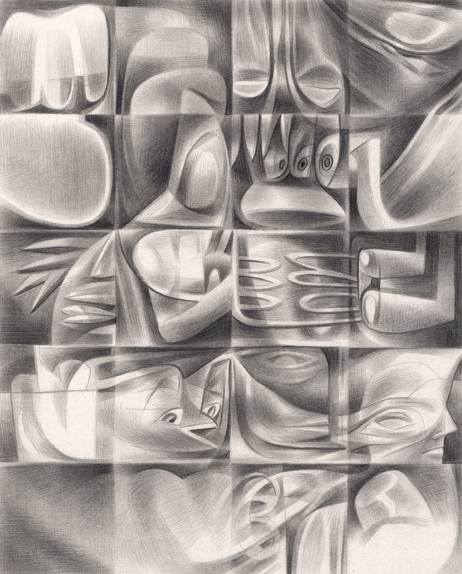 "The Truant Officer's Bride , 2005. Graphite on paper. 6"" x 7""."