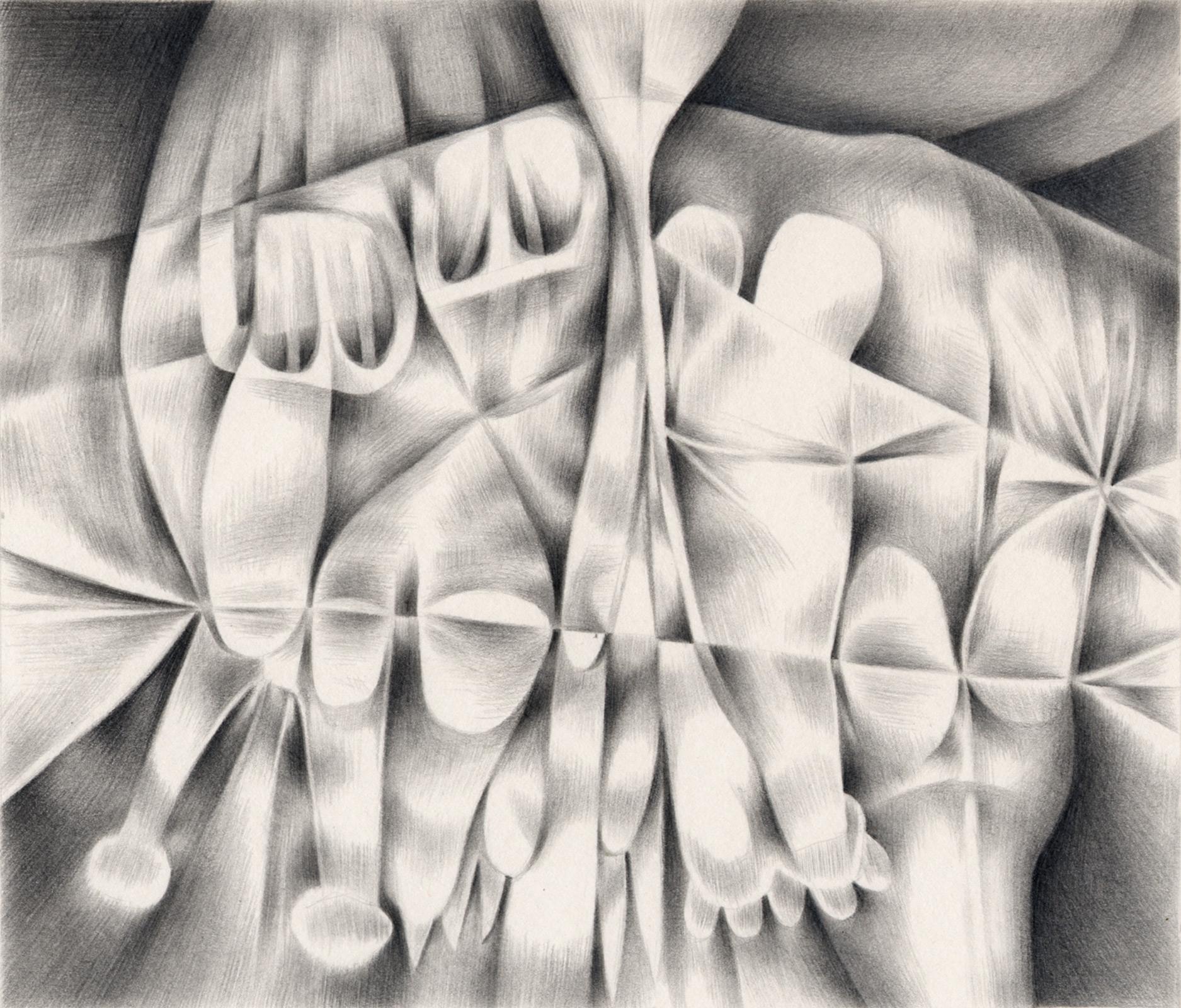 """Skin Blossom , 2003. Graphite on paper. 7"""" x 6""""."""