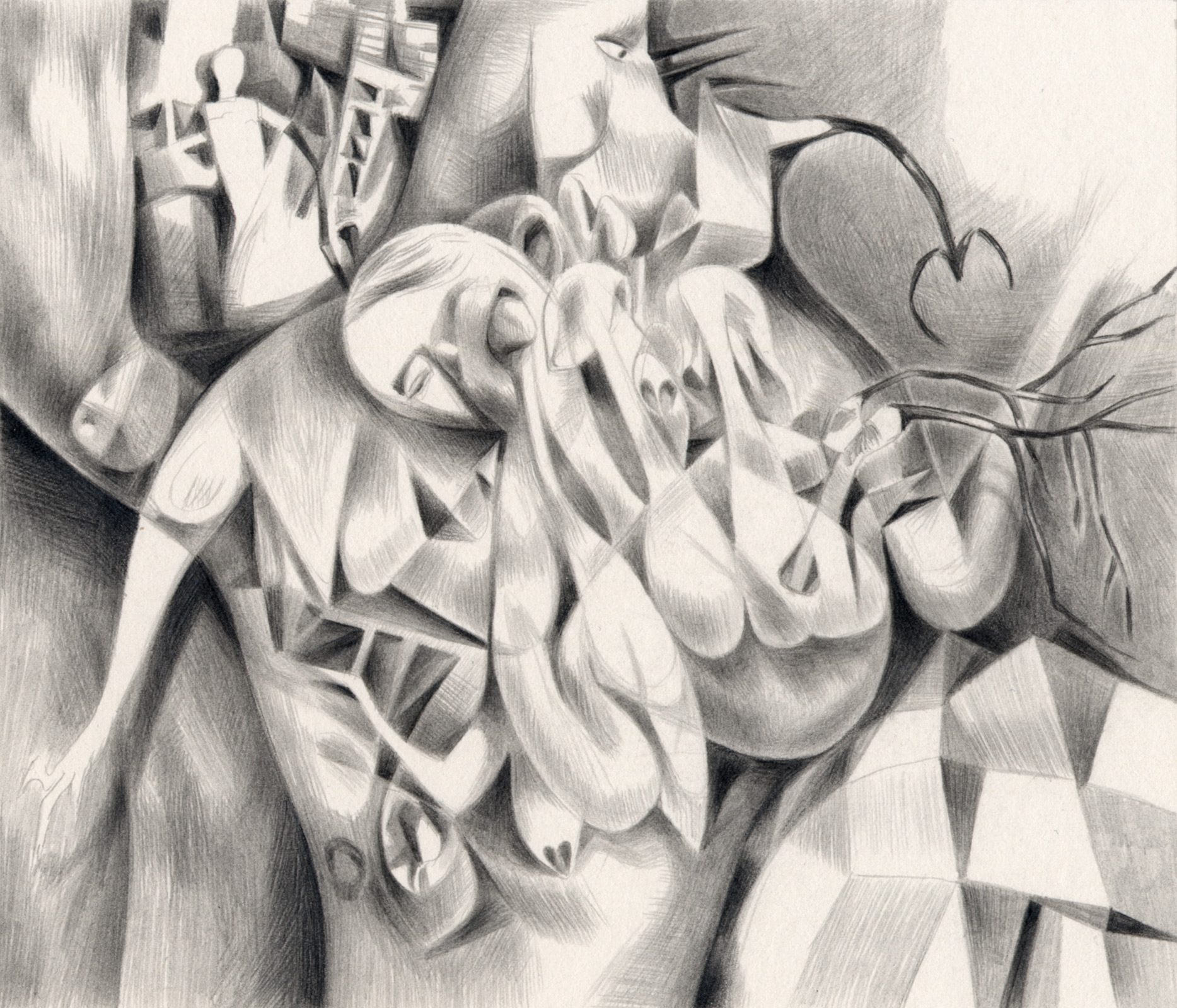 "Conjoined , 2003. Graphite on paper. 7"" x 6""."