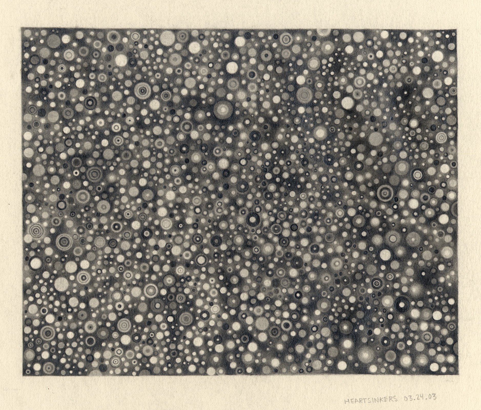 "Heartsinkers , 2003. Graphite on paper. 7.5"" x 6""."