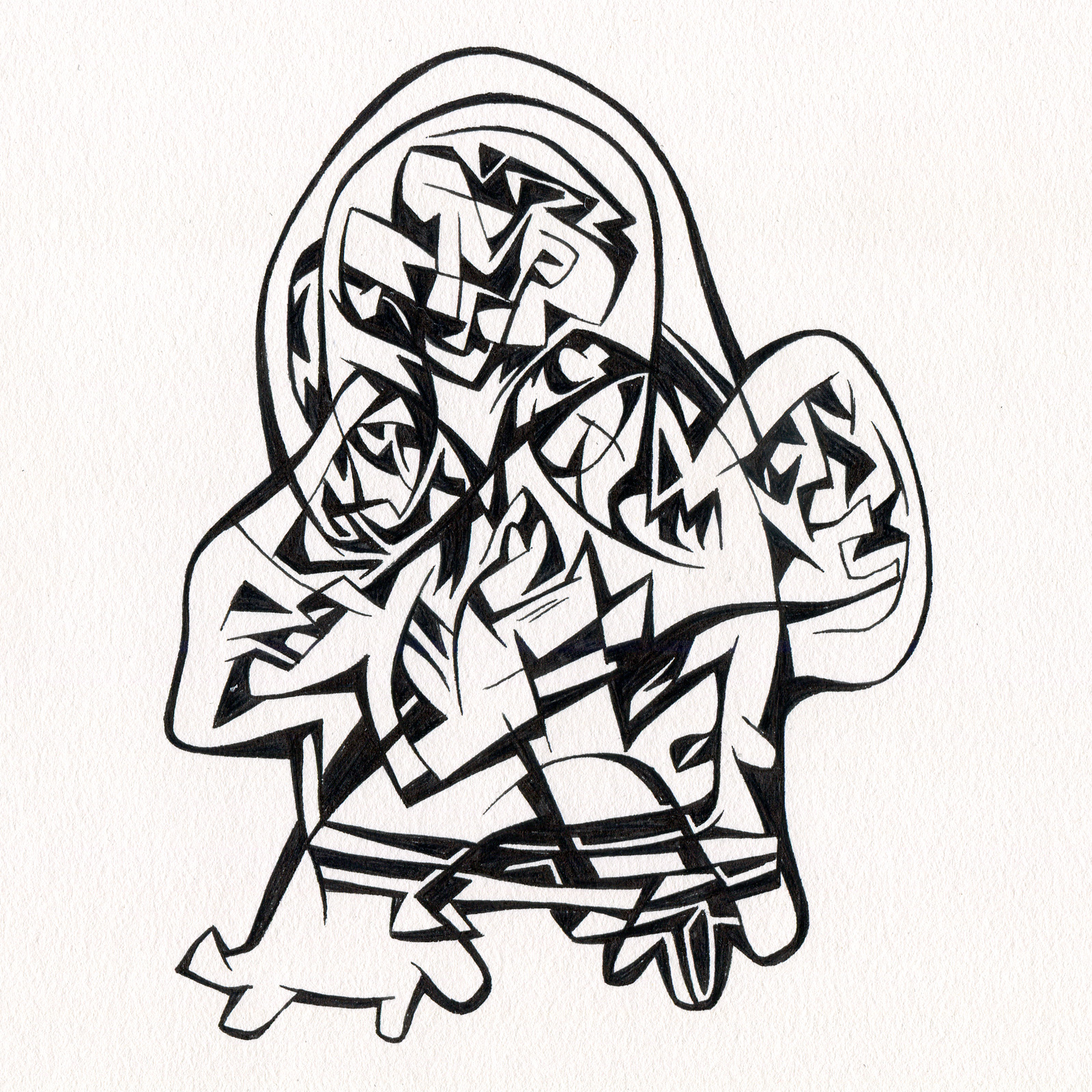 "Untitled Ink Drawing #104 , 2015. Ink on paper. Approximately 5"" x 5""."
