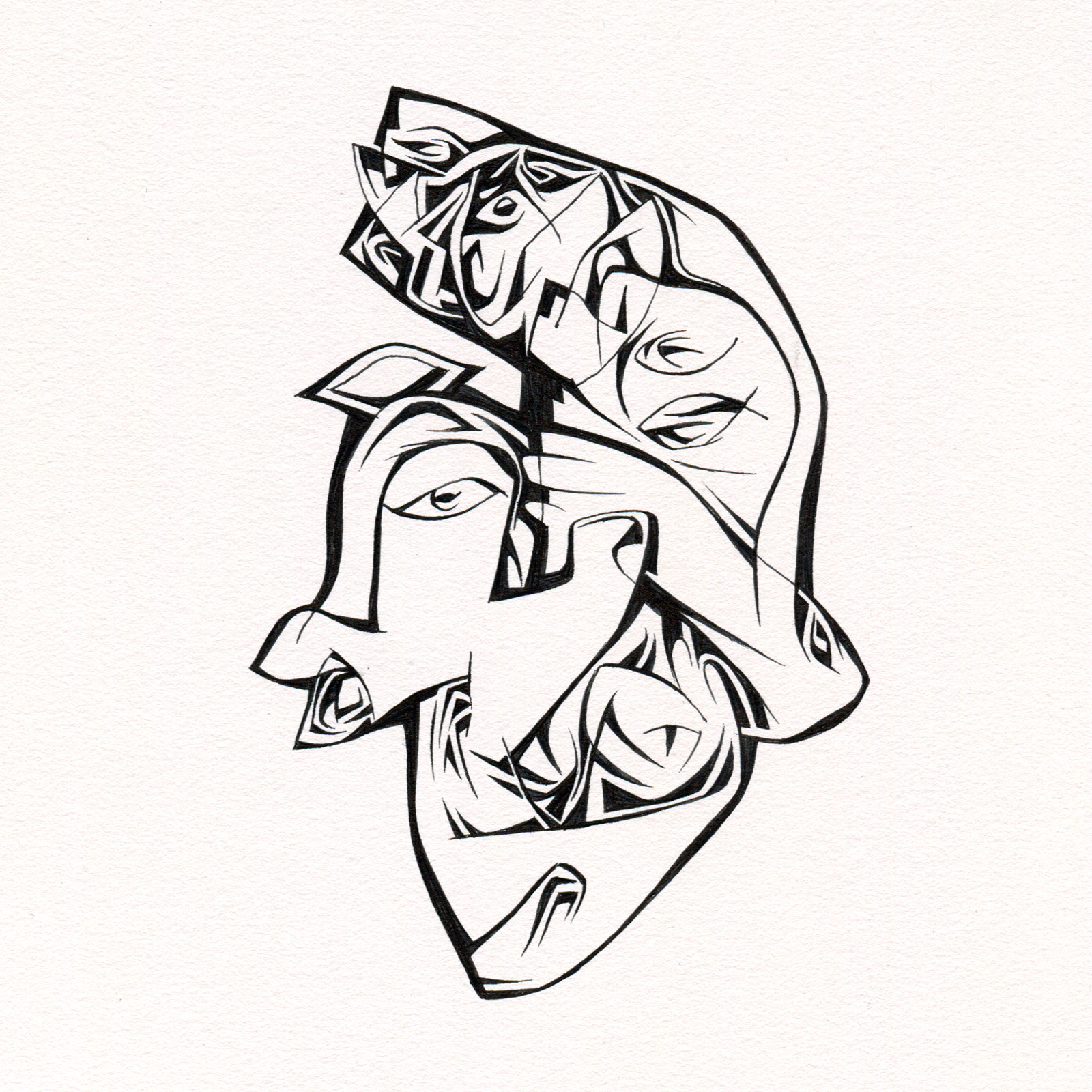 "Untitled Ink Drawing #100 , 2015. Ink on paper. Approximately 5"" x 5""."
